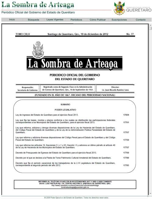 LA SOMBRA DE ARTEAGA_Nº 77_18.12.2012_PORTADA