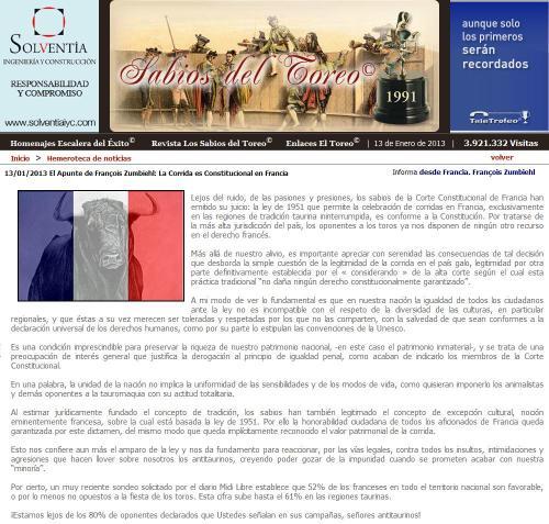 LA CORRIDA ES CONSTITUCIONAL EN FRANCIA_13.01.2012