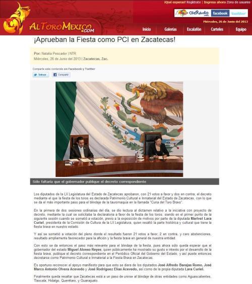 DECLARAN PCI A LA TAUROMAQUIA EN ZACATECAS_26.06