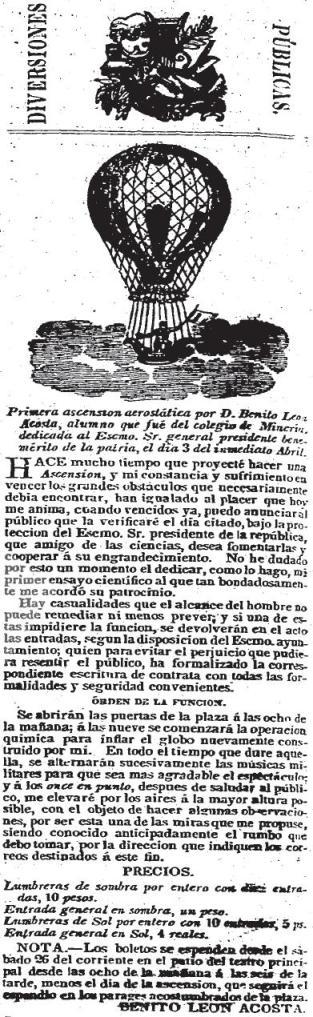 CARTEL_SAN PABLO_ASCENSIÓN AEROSTÁTICA_03.04.1842_BENITO LEÓN ACOSTA