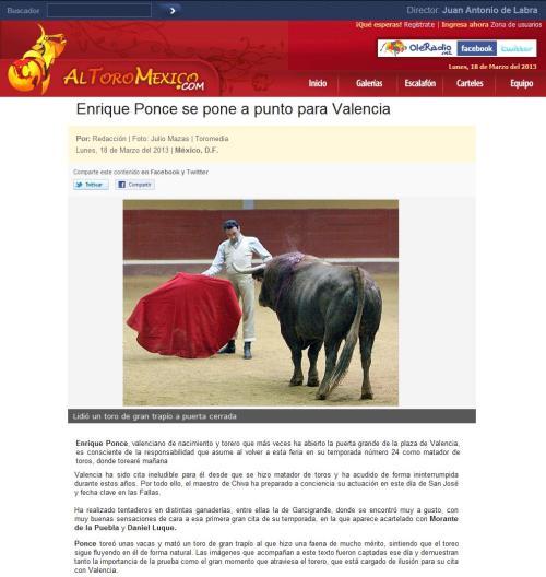 ENRIQUE PONCE A PUNTO EN VALENCIA_ALTOROMÉXICO.COM_18.03.2013