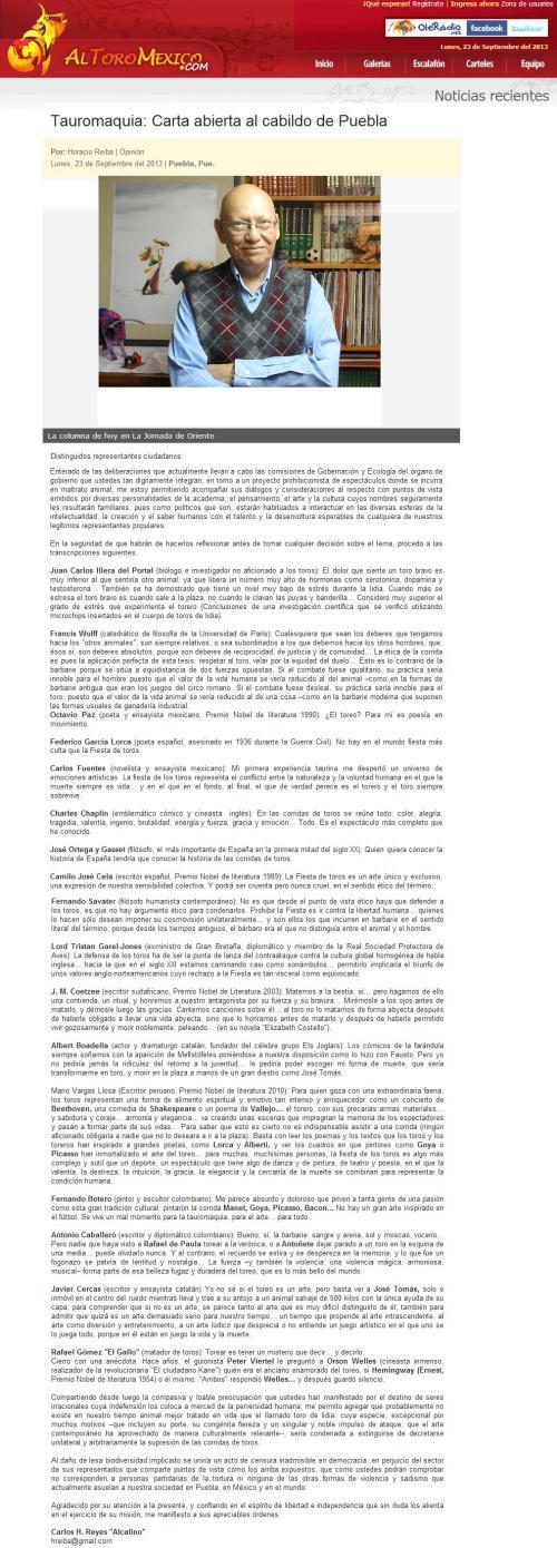 TAUROMAQUIA_CARTA ABIERTA AL CABILDO DE PUEBLA_23.09.2013