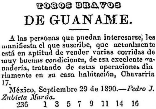 TOROS BRAVOS DE GUANAMÉ_LA VOZ DE MÉXICO_05.10.1890_p. 4