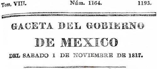 CABECERA DE LA GACETA DEL GOBIERNO DE MÉXICO