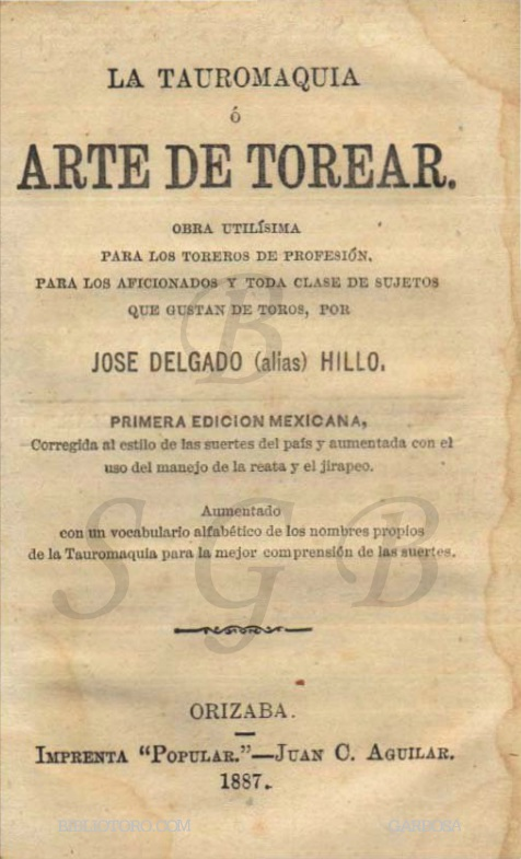 LA TAUROMAQUIA_PEPE HILLO_ORIZABA 1887