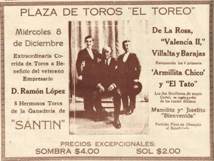 CARTEL_P. de T. EL TOREO_08.12.1926_BENEFICIO RAMÓN LÓPEZ_SANTÍN
