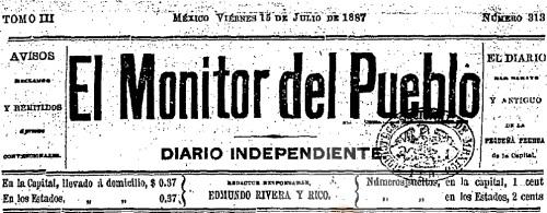 CABECERA DE EL MONITOR DEL PUEBLO_15.07.1887