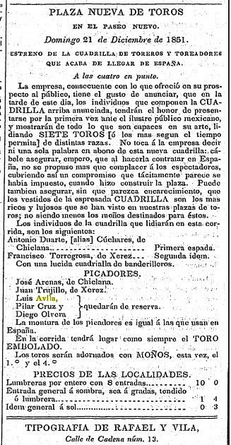 CARTEL_21.12.1851_PASEO NUEVO_ANTONIO DUARTE... LUIS ÁVILA_DISTINTAS RAZAS