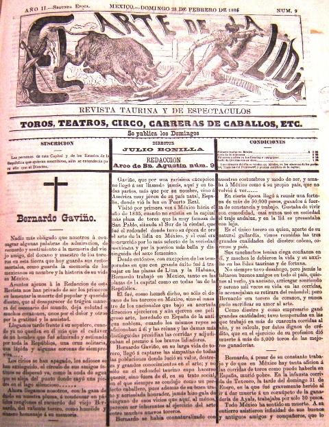 EL ARTE DE LA LIDIA_N° 9_28.02.1886_p. 1