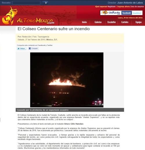 EL COLISEO CENTENARIO SUFRE UN INCENDIO_27.02.2016